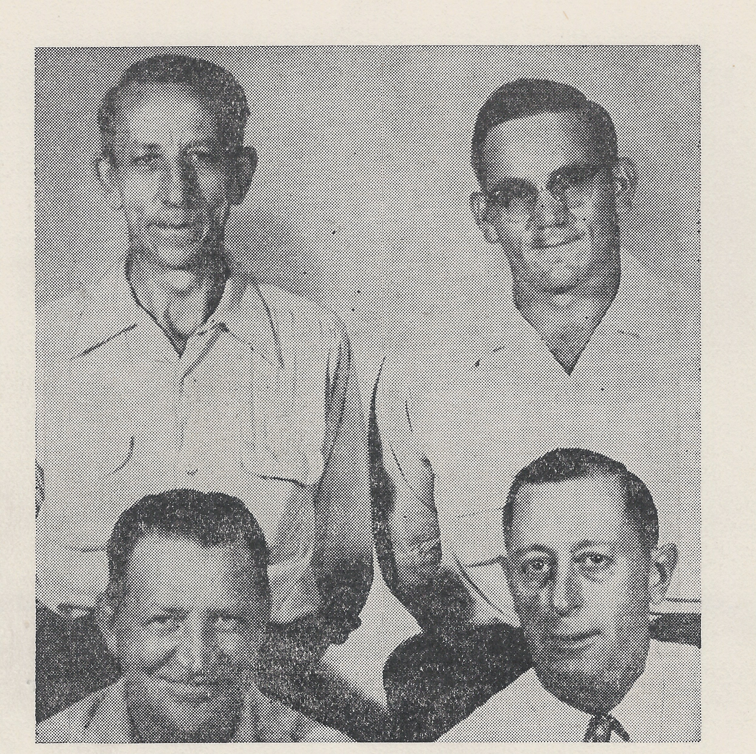 Front row Walter Hammond Treas and Bernard Conklin Vice-President  Standing  Adrian Rausch President and Floyd Davis Recording Secretary
