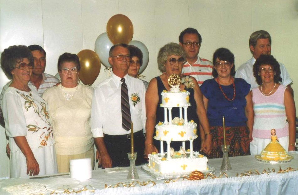 Kate & Harold's 50th Anniversary -- August 1988       Elwanda & Estella (Kate's sisters), Harold, Kate, Bonnie (Don's wife), Sandy Malterer (Dave's friend),       BACK: Dave, Kaye, Jack & Don