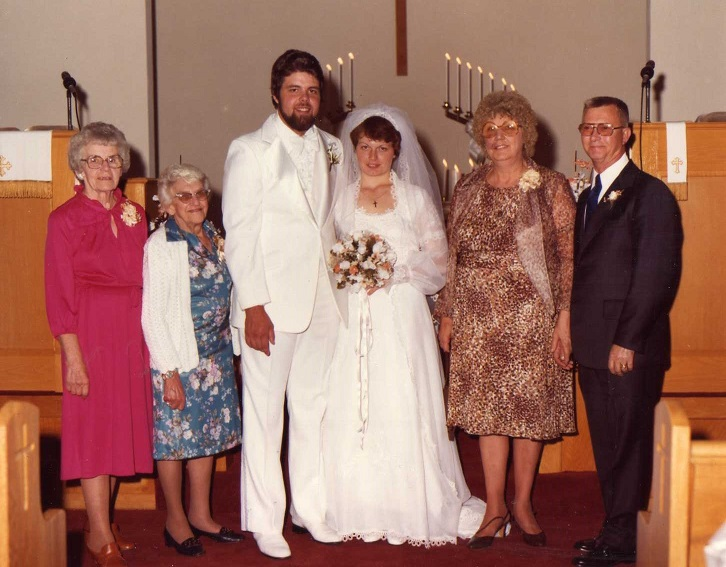 Wedding of Brenda Walton & Jim Cummings -- 1980      Marjorie Crone, Hazel Walton, Jim & Brenda Harding, Kate & Harold Hanlon
