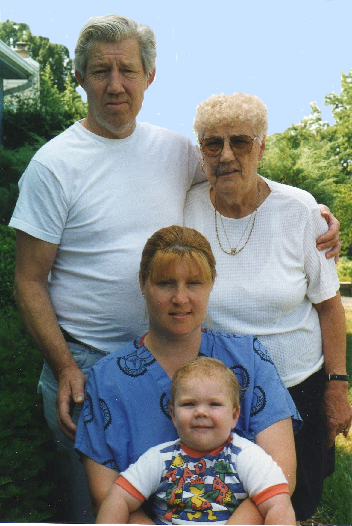 Four generations:  Don, Kate, Dawn, Sky -- August 1996
